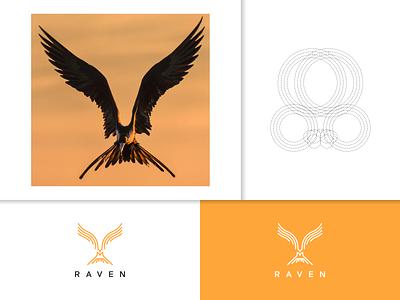 RAVEN logo vector symbol animal raven branding logo minimal lineart illustration design icon graphic design