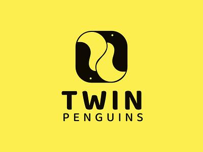 TWIN PENGUINS logo concept logo penguin animal vector branding logo minimal icon illustration lineart design graphic design