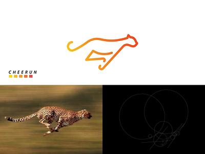 CHEERUN logo animals cheetah icon illustration vector branding minimal logo lineart design graphic design
