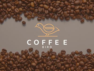COFFEE BIRD logo idenity mark symbol bird coffee illustration design icon branding minimal lineart logo graphic design