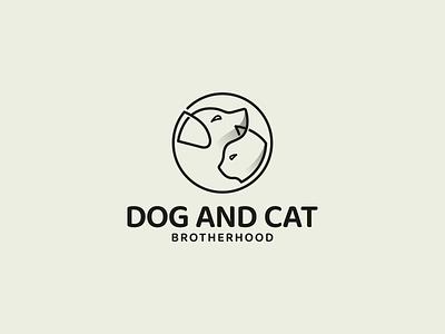 DOG AND CAT BROTHERHOOD logo symbol brotherhood cat dog animal vector branding illustration minimal lineart logo design icon graphic design