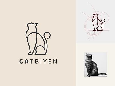 CATBIYEN logo symbol vector branding minimal logo lineart illustration icon graphic design design cat animal