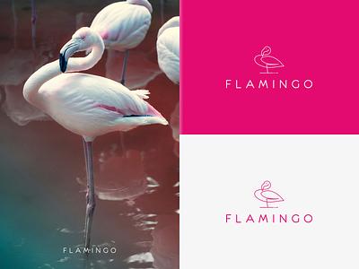 FLAMINGO logo identity symbol branding illustration minimal lineart design icon logo graphic design bird flamingo