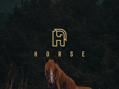 HORSE logo awesome simple mark symbol illustration letter h horse animals branding minimal logo icon design lineart graphic design