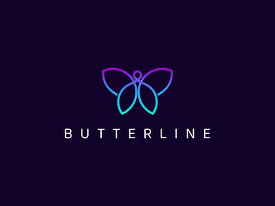 BUTTERLINE logo mark vector logotype modern awesome line butterfly animals brand illustration design minimal lineart logo icon graphic design