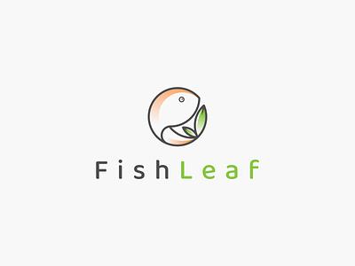 FishLeaf logo idea. inspirations logo symbol leaf fish animal vector branding illustration icon minimal lineart design logo graphic design