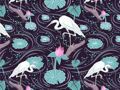 Wetlands florida wetlands bayou cranes egret waterlilies floral vector surface design pattern