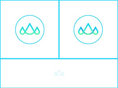 Mountain+Water icon illustration design logo