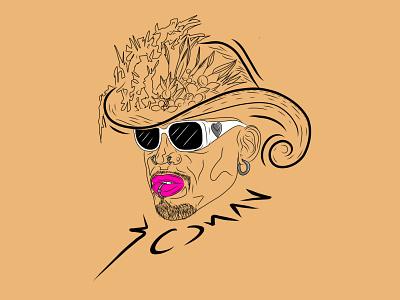 Rodman style vector lips hat basketball rodman fashion logo illustration graphic design