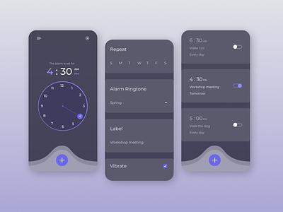 Alarm Clock App illustration ux ui alarm clock design