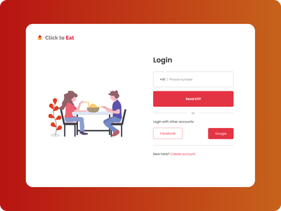 clickToEat minimal ui food delivery login page food app app branding ux ui design illustration