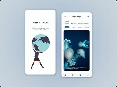 Reportage graphic design mobile design news app app illustration mobile app news ux ui design
