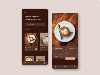 Coffee Shop App graphic design mobile app coffee app illustration app ux ui design
