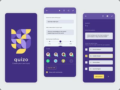 Create your own Quiz graphic design quiz app create quiz neogeometric quiz logo mobile app ux ui app illustration design