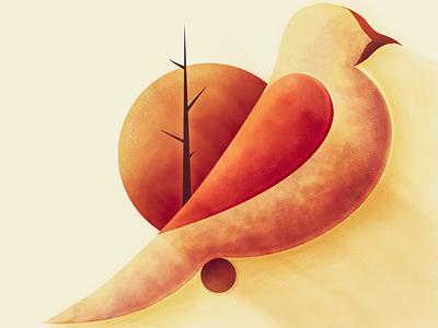 Harvest Moon birds design vector color illustration