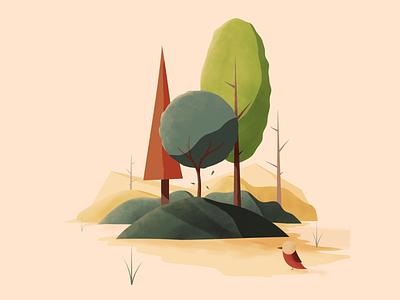 Tree Best Friends texture color landscape nature autumn fall illustration desgin print