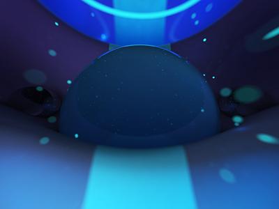 Deep depth glow wave particles water 3d maxon c4d sphere