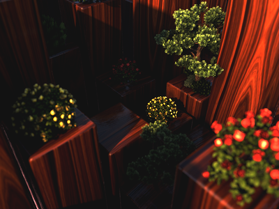 Morning In The Garden geometry tree flowers composition light grain wood c4d cube 3d