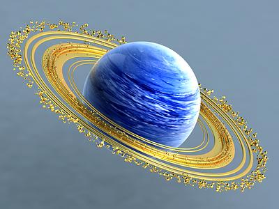RIINGS gold blue planet space c4d color sphere 3d