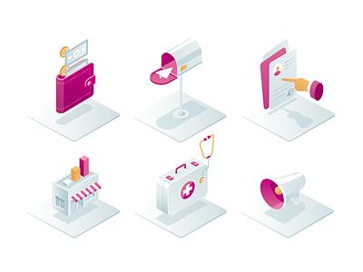 Virke - Isometric Icons gedzdesign organization services shadow gradient platform isometric isometry illustraion icons