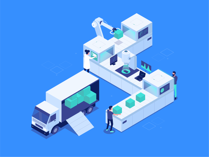RPD Store - Main Illustration isometry blue boxes repairs delivery work people conveyor service test illustraion isometric