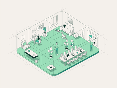 WeWork - Inside Illustration plan structure rooms position people isometric illustraion workspace line inside office location