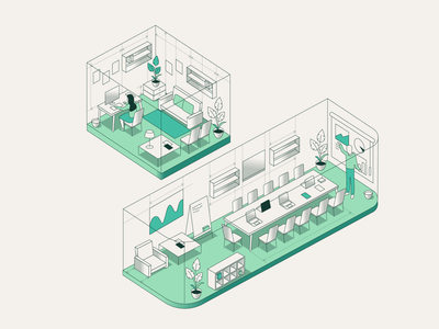 WeWork - Inside Illustration 2 location office inside lines workspace illustration isometric people position room structure plan
