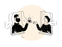 Simple Story home moment story covid black  white simple illustration comics sketch flower quarantine love