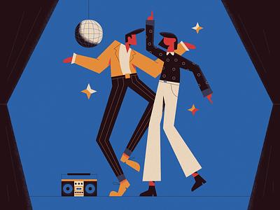 Disco dancer stars party weekend gedzdesign illustration disco ball 80s 70s club dancer dance disco
