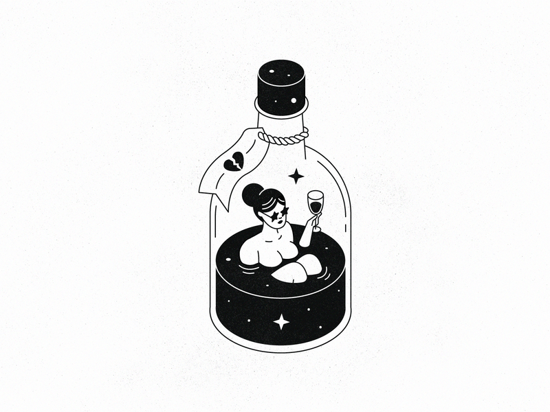 Broken Heart Cure whiskey star outline line texture black  white isometric bottle alcohol drink heart baby