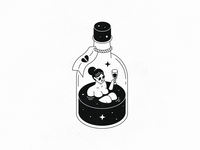 Broken Heart Cure whiskey star outline line texture black  white isometric bottle alcohol drink heart baby