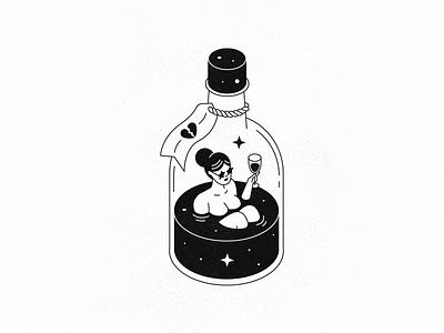 Broken Heart Cure oldschool illustration whiskey outline line texture black  white isometric bottle alcohol drink heart baby