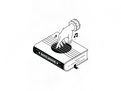 SoulBook simple design guitar hand texture outline old school isometric illustration book melody heart black  white