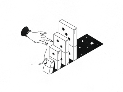 Universe's Game Rules shadow star hand domino space black  white outline illustration lineart linear line game