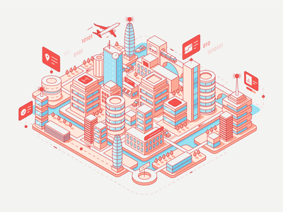 Tamoco - Main Illustration information location illustration analytic building platform smartcity city data isometric