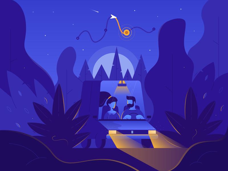 Trunow - Illustration for Mobile App point station map light search illustration navigation app night car way petrol