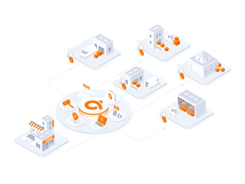 Agora Place - Illustration contact place orange delivery b2b platform box store global connect illustration isometric