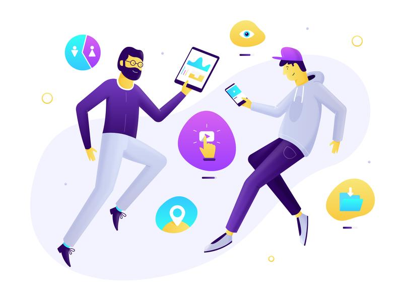 Pixly - Illustration widelab business men platform marketing view company play gradient icons shadow illustration