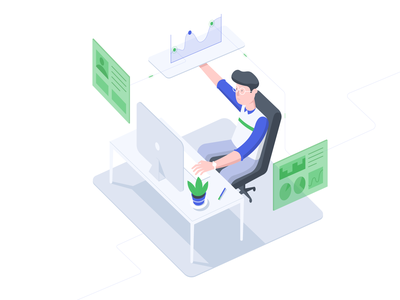 Work station Illustration info data worker man platform illustration isometric dashboad work agency b2b freelance