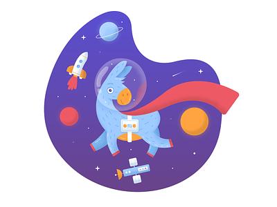 Donkey in space gravity super satellite cosmonaut planet stars gradient illustration rocket donkey space
