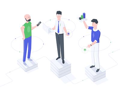 Employee levels Illustration point levels workers status freelance b2b work isometric illustration platform data info