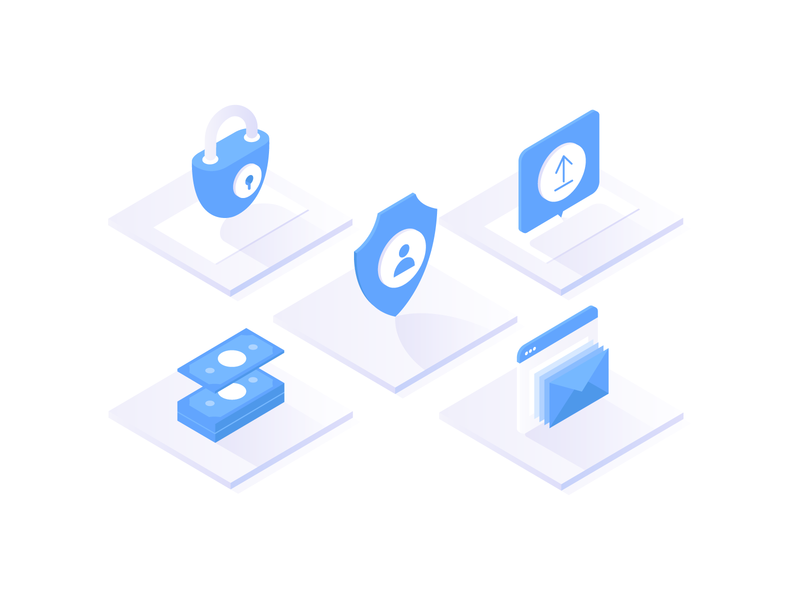 Financial Security Icons illustration doc shield money mail castle shadow blue security icons icon isometric
