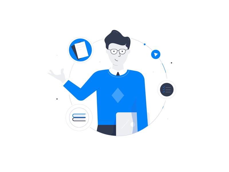 User account tasks list media user cabinet laptop data man work illustration