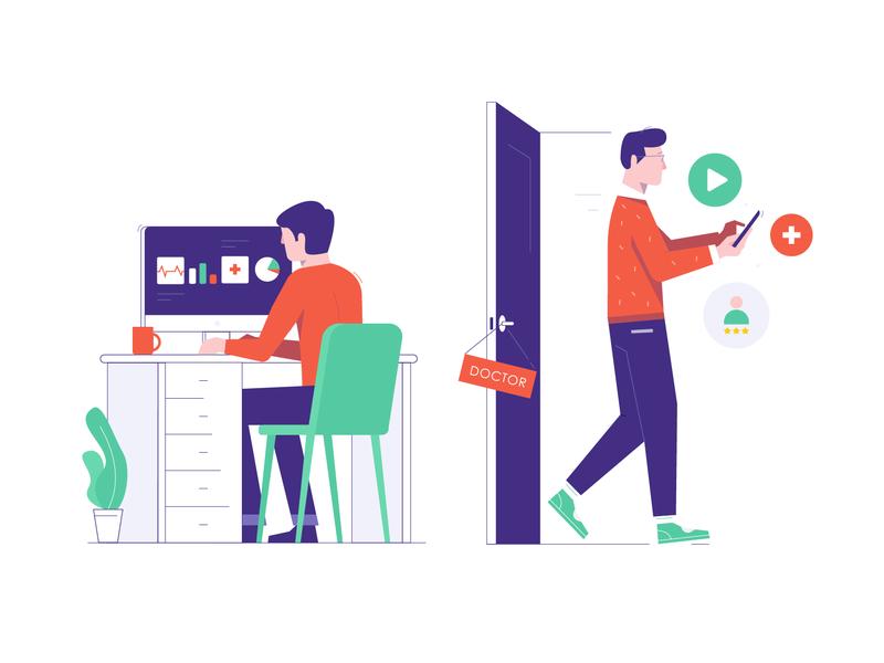 Illustration for the Medical App mobile people man control data doctor patient illustraion app medical app medical medicine