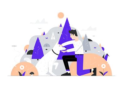 Rabbu - Illustration goodtime mountain grey happy relax airbnb trees man dog illustration nature