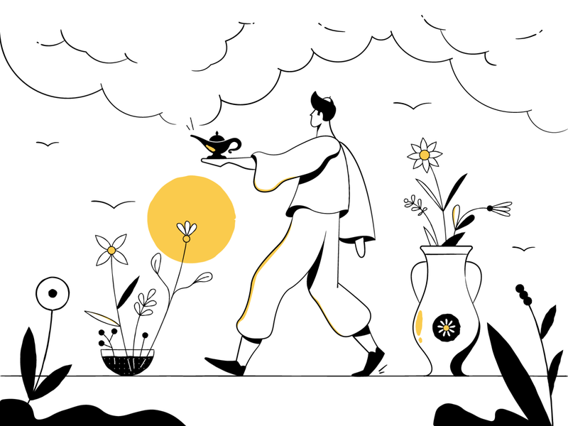 Hi Alfred! - Main Illustration alfred minimalism blackandwhite shadow flowers magic man sun illustration lines line