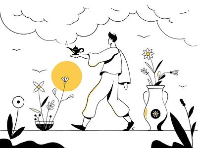 Hi Alfred! - Main Illustration alfred minimalism blackandwhite shadow flowers magic man sun illustration lines line