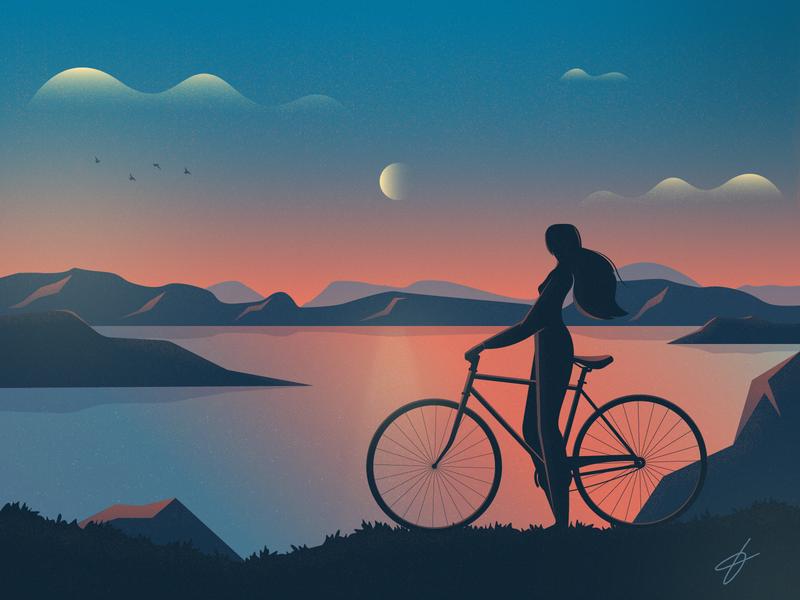 Evening nature landscape hill evening texture sky moon illustration bike mountains girl birds