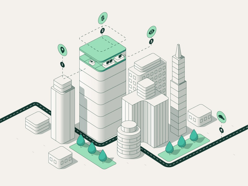 WeWork - Main Illustration position linear location price workspace work street office points buildings isometric ilustration