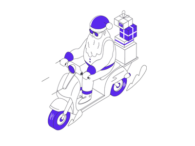 Wide Christmas - Santa is Late christmas newyear santaclaus santa winter motorcycle motorbike animation surprise illustration isometric widelab